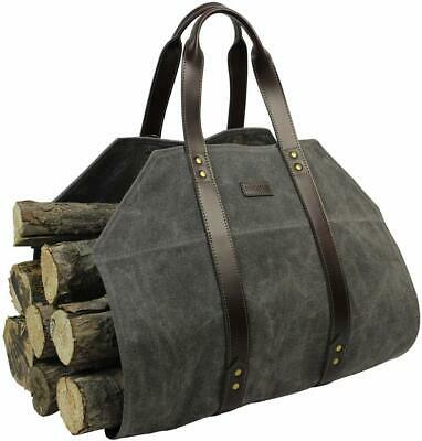 Log Carrier Waxed Canvas Firewood Tote Bag Fireplace Wood Stove Fireplace