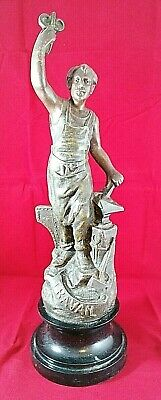STUNNING VINTAGE SPELTER FIGURE 'TRAVAIL' MOUNTED ON WOOD STAND 41 cm TALL