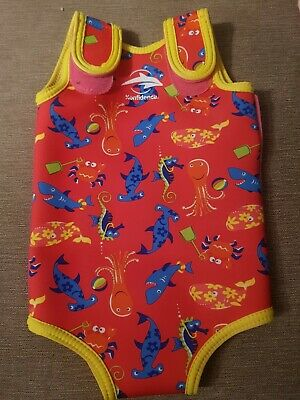 Konfidence babywarma baby wetsuit pink sea creatures 6-12 months