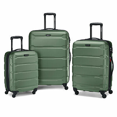 "Samsonite Omni 3 Piece Hardside Luggage Nested Spinner Set (20""/24""/28"") Army Gr"