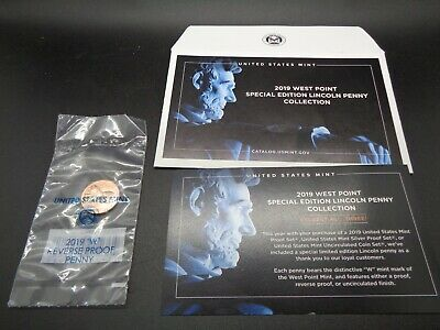 2019 W REVERSE Proof Lincoln Cent Penny-With Envelope/COA Gem Proof-West Point