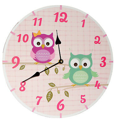 """Wall Clock Made of Wood - """" Funny Owls """" - 34 cm Large - Very Quiet Watch -"""