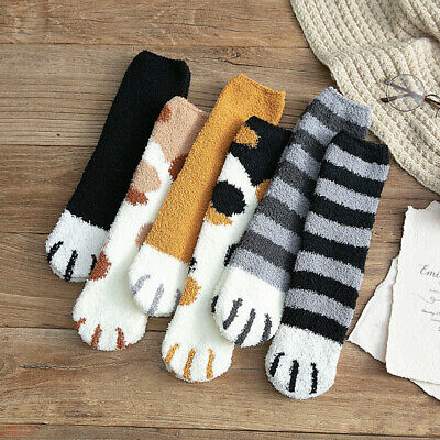 1pair Autumn Winter Cat Claw Socks Keep Warm Indoor Floor Socks Sleep Socks Cute
