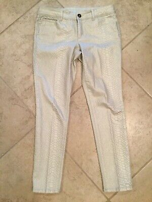 Cache Womans Pants Sz 6 Skinny Snakeskin embossed Jean style NEW WITHOUT TAGS!!
