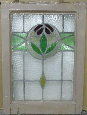"OLD ENGLISH LEADED STAINED GLASS WINDOW Pretty Abstract Drop 14.5"" x 19.75"""