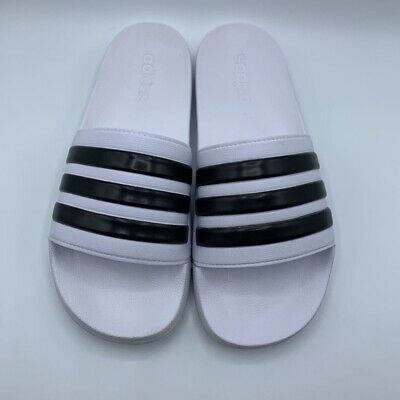 Adidas Mens Adilette Slide Sandals White Black Stripe Slip On Open Toe 10