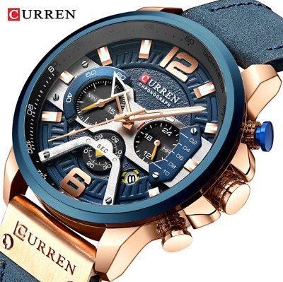 CURREN Casual Sport Watches for Men's Luxury Military Leather Chronograph Wrist