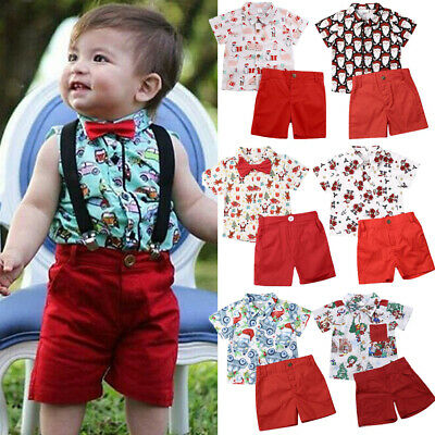 AU Christmas Toddler Kids Baby Boys XMAS Santa Tops Shirt Shorts Outfits Set