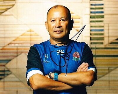 Eddie Jones Signed 10X8 Photo England RUGBY Coach AFTAL COA (A)