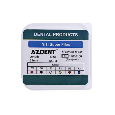 AZDENT Dental Endo Engine Use NiTi Super Rotary File 21mm Machine Taper 6pcs/box