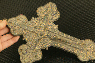 blessing bronze hand carved cross statue big collectable wall decoration