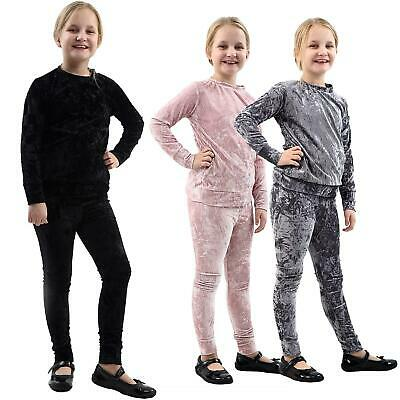 New Girls Kids Velour Tracksuit Velvet Lounge Wear 2 piece Co-Ord Suit