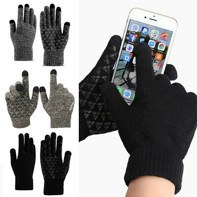Winter Warm Anti-slip Touch Screen Gloves Mens Women Thermal Knitted Wool Gloves