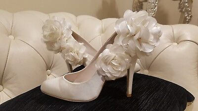 Stella Jewel Ivory Fabric Covered Wedding Shoes With Flowers Size 38