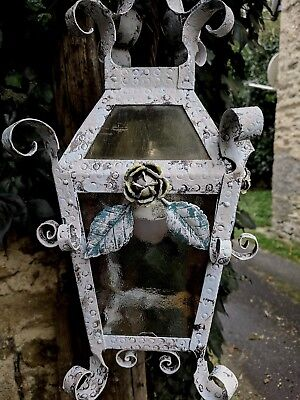 Vintage French Hand Painted Wrought Iron Tole Ware Ceiling Lantern Light