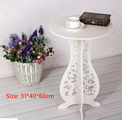 White Small Round Side Table Room Tea Coffee Book Lamp Telephone Stand Furniture