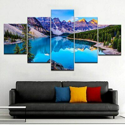Awesome Mountain Lake Poster 5p Canvas Print Nature Painting Wall Art Home Decor