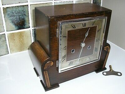 RESTORED 1930's 'ART DECO' STYLE STRIKING MANTLE CLOCK