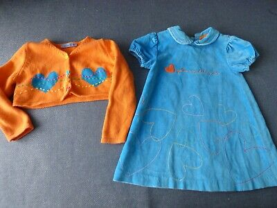 Agatha Ruiz De La Prada blue baby girl dress orange cardigan age 2 years 24 m