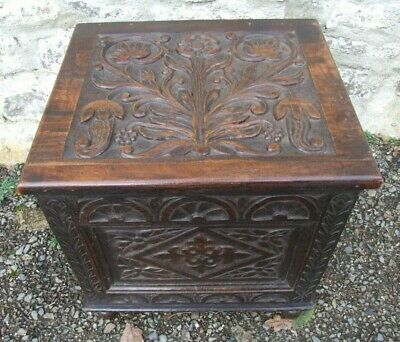 Antique Victorian carved oak Coal BOX purdonium log store peg joints 19""