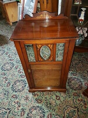 Antique Edwardian Marquetry Inlaid Music Cabinet 19th Century