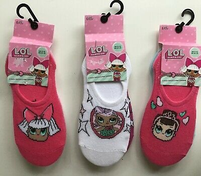 3 pairs Girls Socks / Liners with LOL detail In 3 variations. sizes 9-12