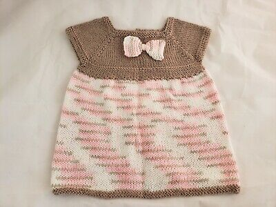 Baby Girls Handmade Hand Knitted Soft Brown Pink White Bow Dress 12 Months
