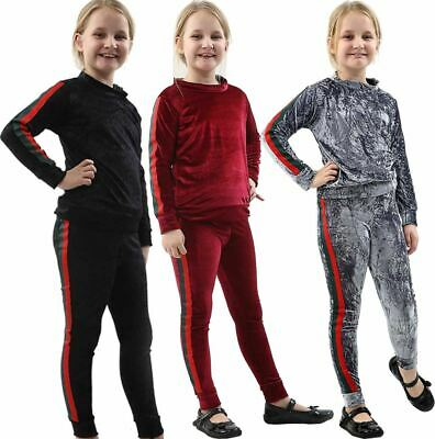 Girls Side Stripe Valor Velvet Tracksuit Childrens Lounge Wear 2 Pc Co Ord Suit