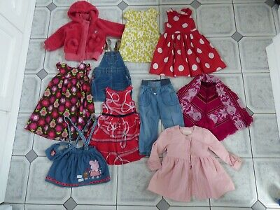 Girls bundle Next sweet millie cranberry denim dress poncho jacket trousers age