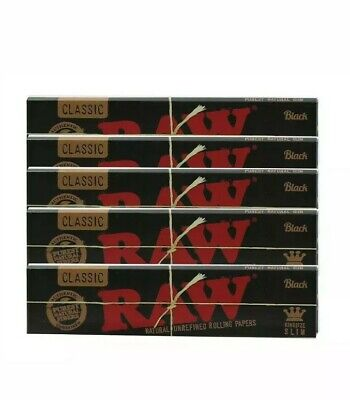 10 Packs Raw Black King Size Slim Natural Unrefined Rolling Papers 32 Leaves