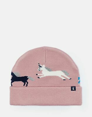 Joules Girls Neddy Unicorn Intarsia Hat - PINK UNICORNS