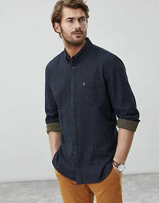 Joules Mens Halbert Long Sleeve Classic Fit Textured Shirt in FRENCH NAVY SPOT