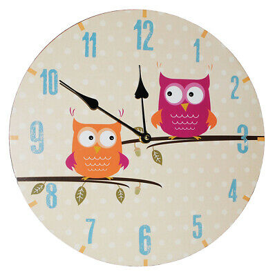 """Wall Clock Made of Wood - """" Funny Owls on Branch """" - 34 cm Large - Very Quiet"""