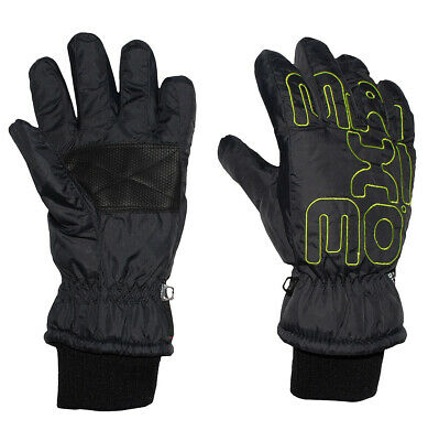 Gloves with Shaft / Knitted Cuffs - Black with Neon Green - Thermal G