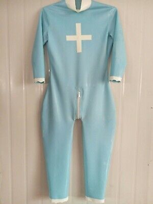 Latex Uniform Bodysuit 100% Rubber Gummi Light Blue White Uniform Nurse S-XXL