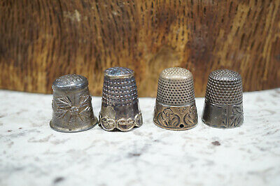 Lot of 4 Antique Silver Tone & Sterling Thimbles