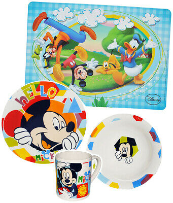4 PC Dishes Set Mickey Mouse - Porcelain Drinking Mug+ Plate + Müsli Bowl
