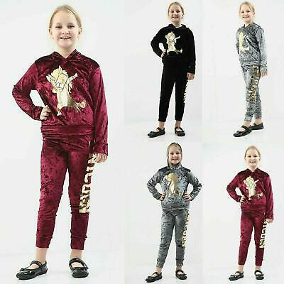 Kids Girls 2 Piece Co Ord Set Hooded Top And Bottoms Unicorn Print Tracksuit 7-1