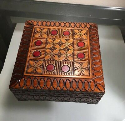 Vintage Wood Box From Poland, Brass Decorative Inlay And Carving, Trinket Box