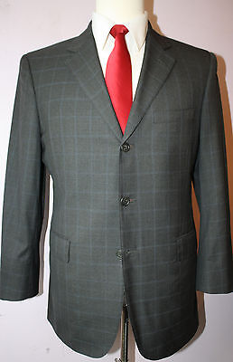 Mr Ned NYC Gray Windowpane 3 Button Super 150s Wool Suit 40 Regular 33 30 Pants