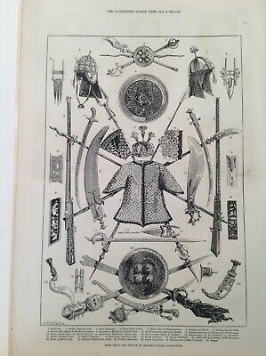 Old Antique Print 1876, Prince Of Wales's Arms, Indian Collection