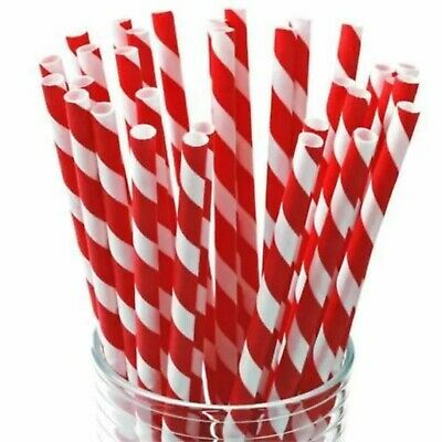 Red & White Striped Paper Straws 20cm Biodegradable 1/25/50/100/250/500/750/1000