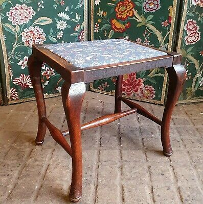 Oak Arts And Crafts Stool With William Morris Upholstery