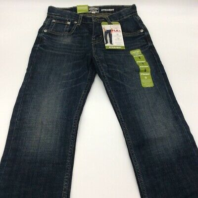 Signature By Levis Boys Straight Leg Jeans Blue Whiskered Dark Wash Zip 8 New