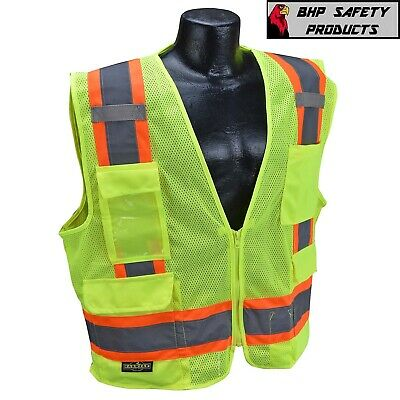 Surveyor Style Two Tone Mesh Safety Vest, Class 2 with 6 Pockets, ANSI/ISEA 107