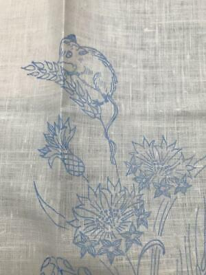 Vintage Printed Linen for Embroidery Field Mice, Snail, Butterfly, Poppies, Corn