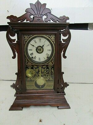 Antique Seth Thomas Dec 28th 1875 Patent Gingerbread Alarm Clock, Shelf Clock