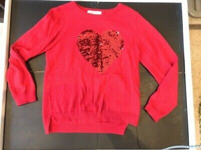 Girls Red Jumper With Sequin Heart - H&M - Age 4-6 - Christmas