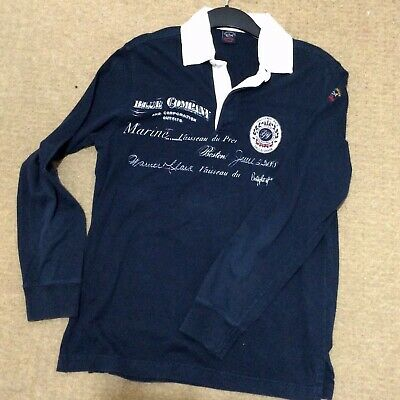 Paul & Shark Yachting Sailors Challenge Race Rugby Style Polo Shirt.  Large Blue