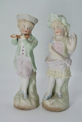 Antique French Victorian Bisque Porcelain Children Boy Playing Flute For Girl